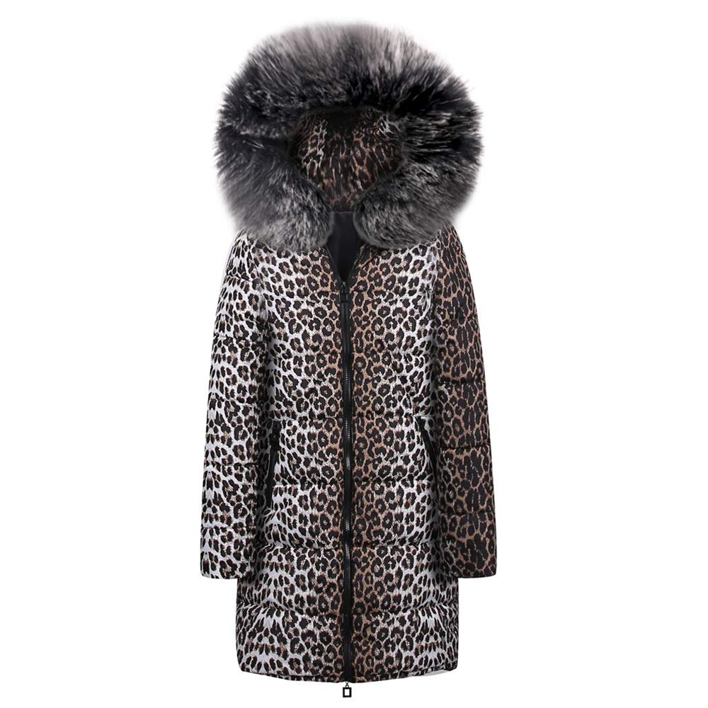 Quelife Womens Winter Long Down Cotton Leopard Print Parka Hooded Coat Jacket Outwear(Black,S)