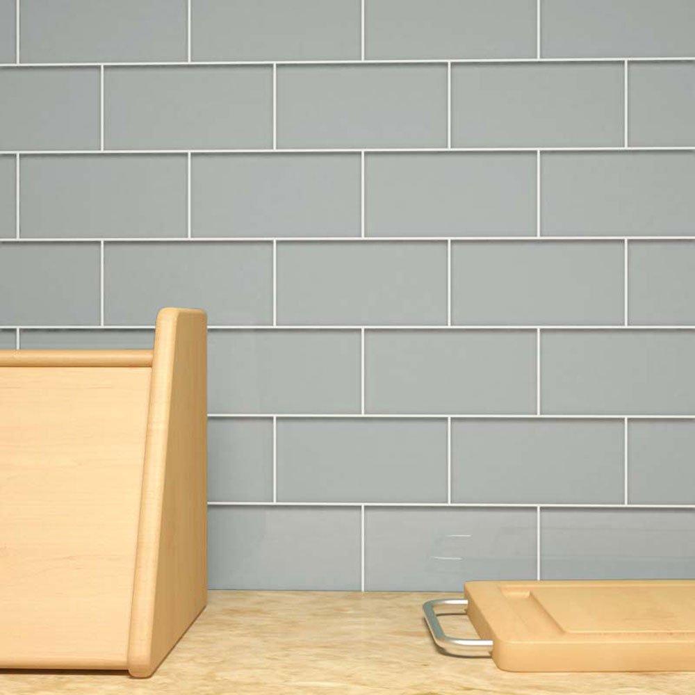 Giorbello Glass Subway Backsplash Tile, 3 x 6, True Gray, Case of 44 Tiles