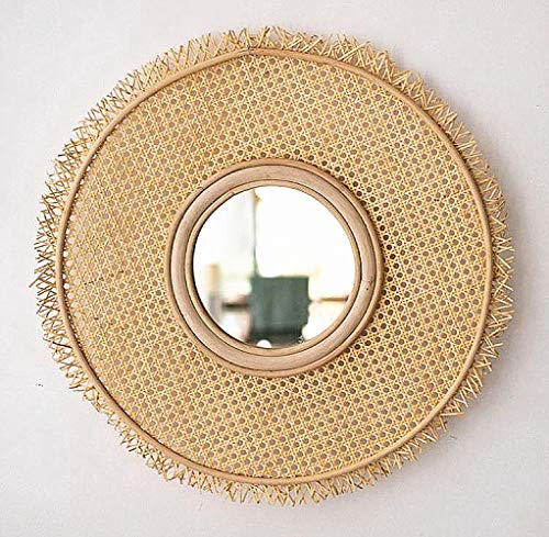 zenggp Sun Rattan Mirror Sun Shaped Rattan Mirror Wall Mirror Home Decor Boho (Bamboo Wall Mirror)