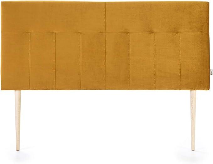 marckonfort Cabezal tapizado Nápoles 160x100 cm Mostaza, Terciopelo, Patas de Madera, herrajes incluidos