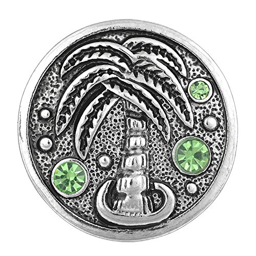 (Vocheng 18mm Snap Charms 2 Colors Coconut Tree Vintage Button Vn-1382 Pack of 2pcs (Green) )