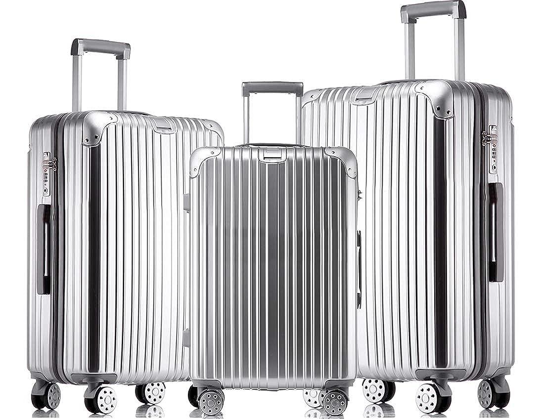 JINXIANGMEI スーツケース 機内持ち込みスーツケース TSAロック キャスター 海外旅行 3点セット(S+M+L)3003 B07K811QKV シルバー S+M+L