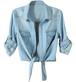 b2fd7cdc8d1c27 Amazon.com: Toddler Girls Crop Tie Tops Denim Shawl Jeans Shirt ...