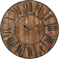 Metal Round Roman Numeral Wall Clock 24 Large Analog Indoor Rustic Home Room Decoration
