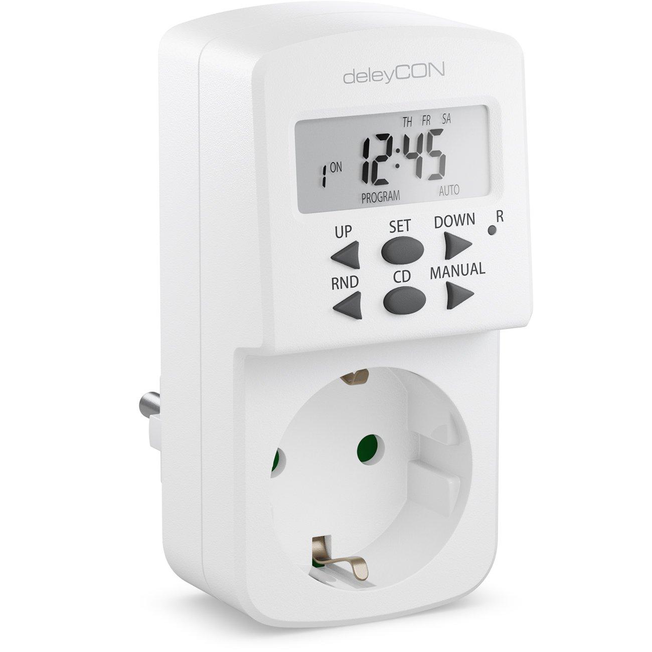 deleyCON Digitale Zeitschaltuhr mit LCD Display Wochenzeitschaltuhr Zeitschalter Schaltuhr Timer 10 Schaltprogramme 1 Minutenschritte 1800W Wei/ß
