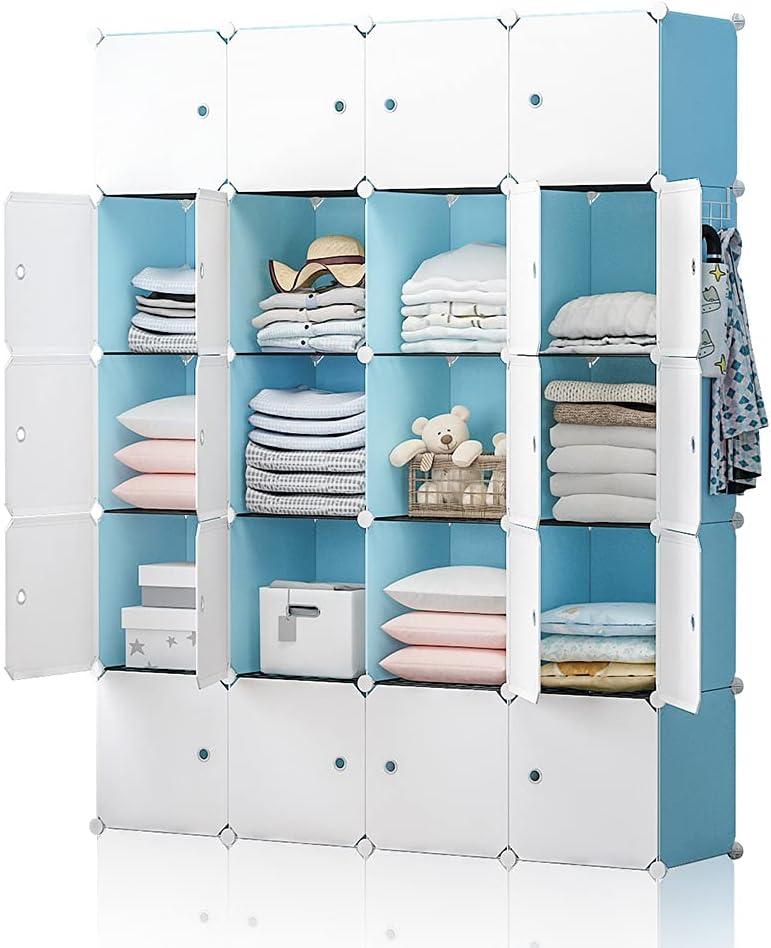 YOZO Portable Closet Armoire Wardrobe Pantry Cabinet Organizer Cube Storage Cubby Shelving Chest of Drawer Unit Multifunction Toy Bookshelf DIY Furniture, Blue, 20 Cubes
