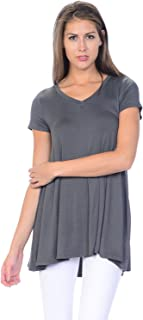 product image for Jubilee Couture Women's Solid Color V-Neck Short Sleeve Flare Tee Shirt Top - Made in USA (Medium,Dark Grey)