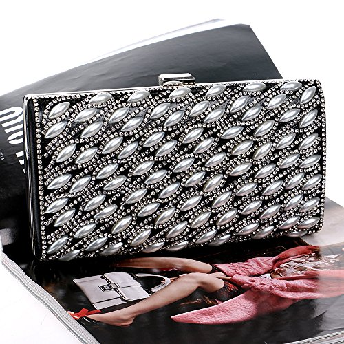 For Glitter Bridal Wedding Antique Party Bag Ladies Women Gift Envelope Black Handbag Clubs Shoulder Diamante Prom Evening Clutch Purse Pearl Bag 66wS7qX