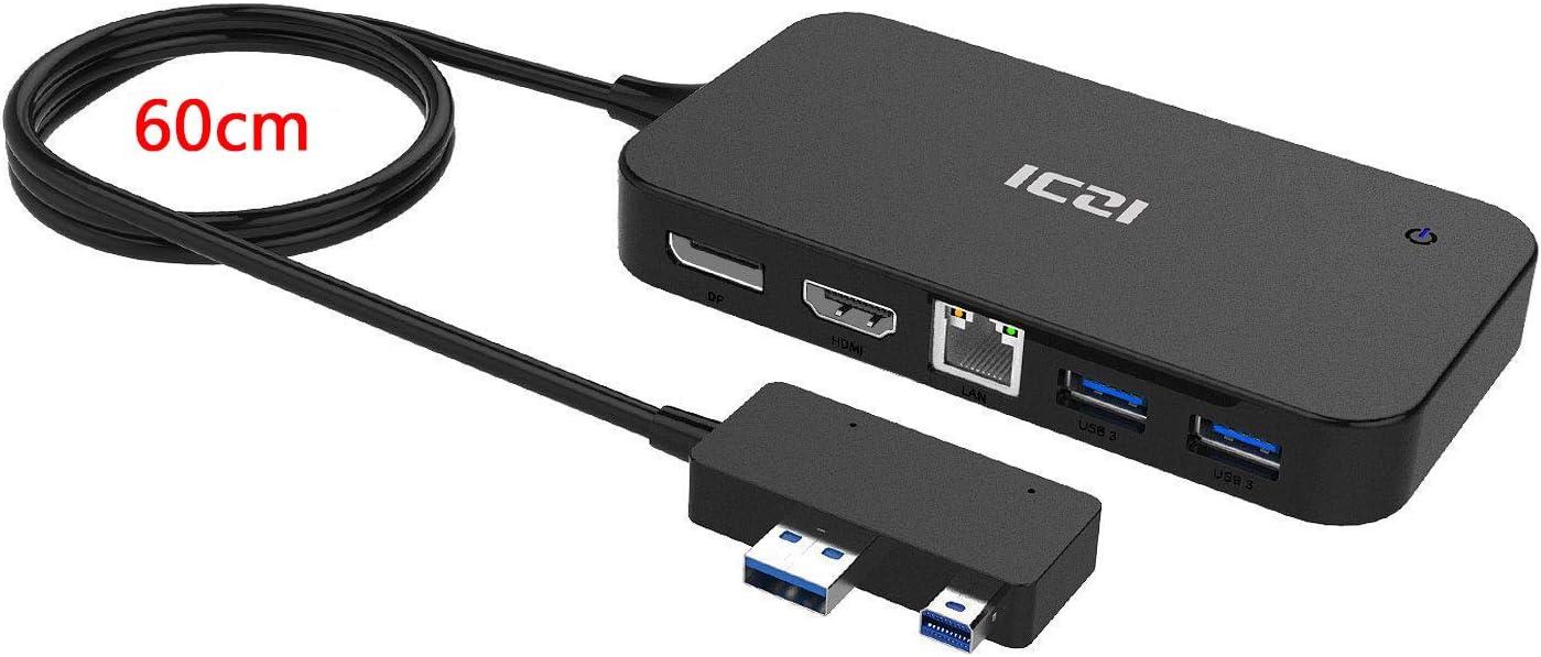 ICZI Surface Dock 7 en 1, Microsoft Surface Hub con DisplayPort HDMI RJ45 Ethernet 2 USB 3.0 Audio USB 2.0 para Surface 3 Surface 4 Surface Pro 4 Surface Pro 5 (NO Surface Pro 3, Pro 7)
