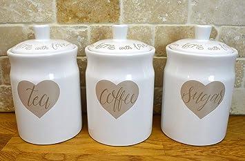 Set Of 3 Shabby Chic Love Hearts Tea Coffee Sugar White Ceramic Kitchen Storage Jars Canisters