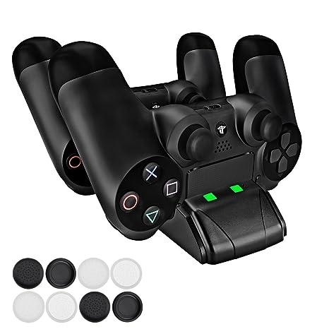 PECHAM Mini cargador para DualShock 4 con LED - Estación de ...