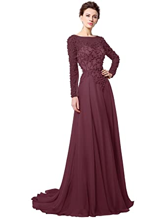 Clearbridal Womens Long Sleeve Crystal Sequins 2018 Prom Dress Evening Gown Burgundy
