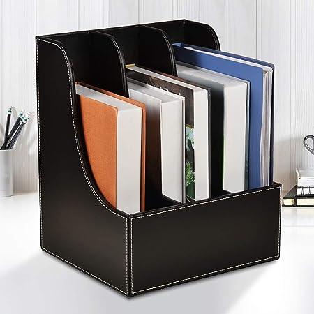 Carpetas Archivo de revista, soporte de archivo de cuero de PU de escritorio, caja de almacenamiento de carpeta de marco de datos carpeta de almacenamiento caja de almacenamiento de papelería (negro /:
