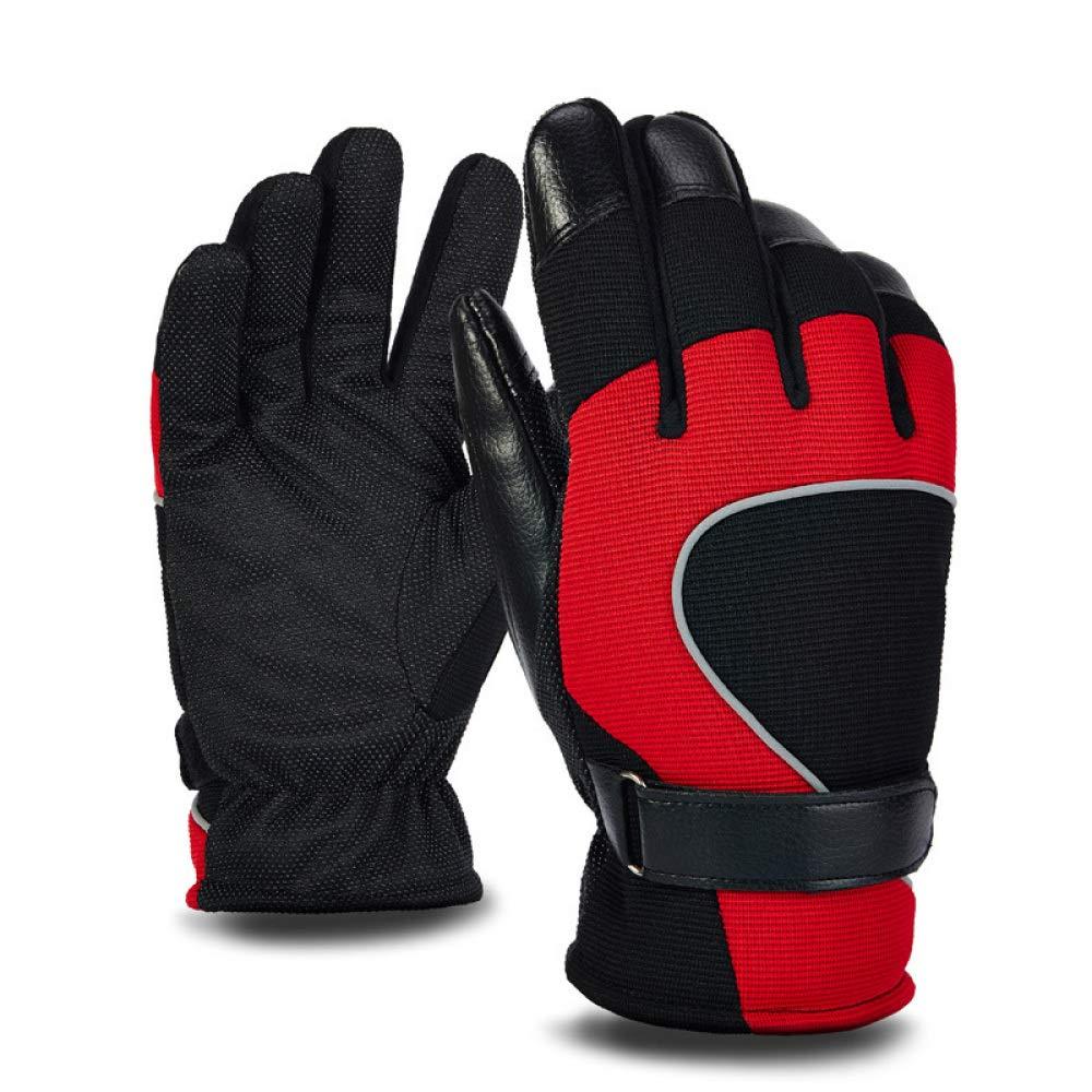 YIWANGO Herren Winterhandschuhe Sport Warme Handschuhe Erwachsene Outdoor-Ski Rutschfeste Handschuhe Mit Verstellbaren Manschetten (schwarz + Rot)