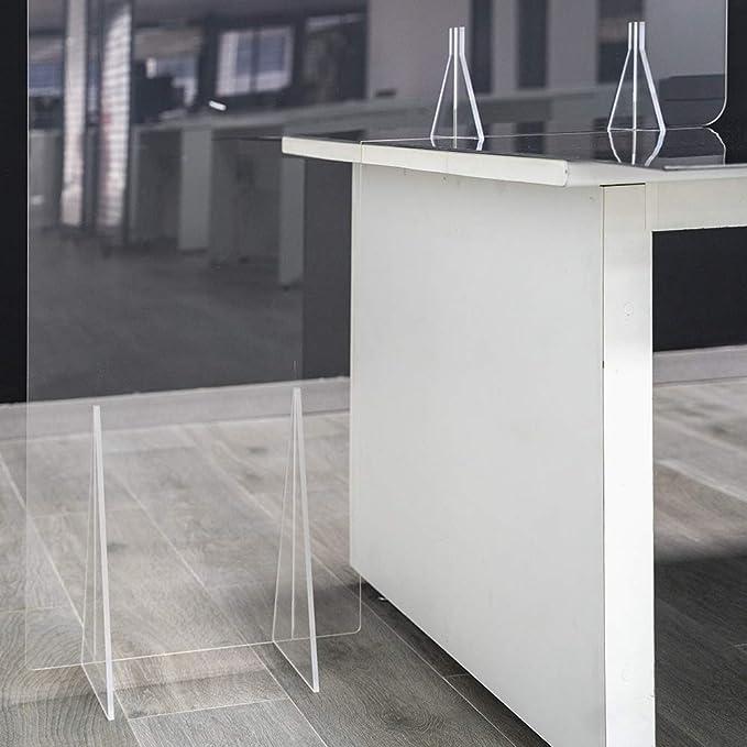 GRUPO ZONA | Mamparas para oficinas | Material Metacrilato | Transparente | Modelo Seattle 2 | Se Apoya en Mesa y Suelo | Para Separación en Oficinas | 4 mm de Grosor |