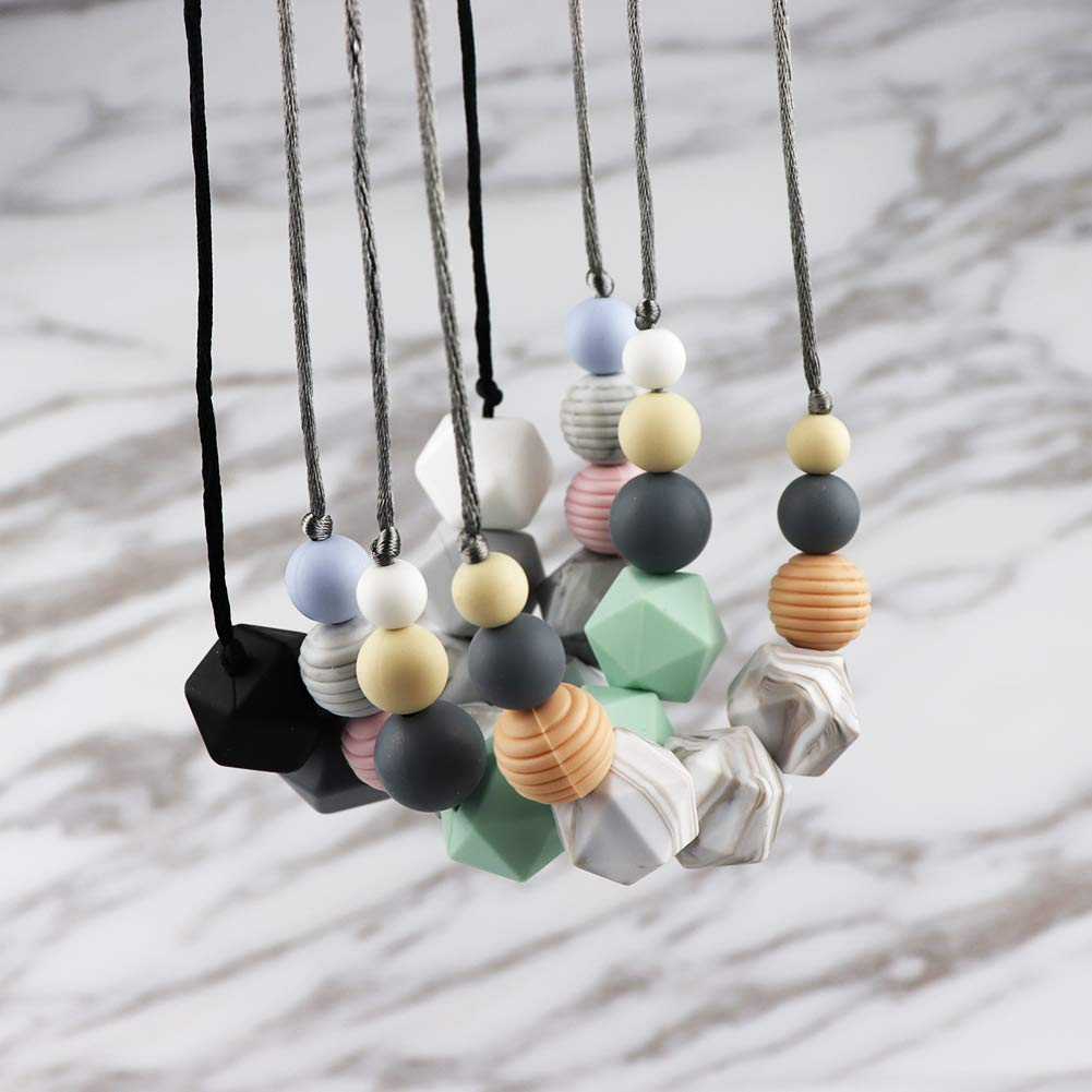 KEFU Teething Necklace for Mum,Silicone Baby Teether Necklace for Breastfeeding Nursing Handmade,Nursing Jewellery,100% BPA Free (Black and White Gray Match)