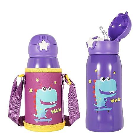 olyee Botella de Agua con Pajita para niños, Taza térmica de Acero Inoxidable con Soporte para el Hombro y Tapa de Repuesto, aislada a Prueba de ...