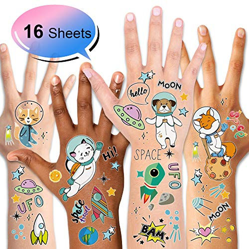 Outer Space tattoos (16Sheets), Konsait Solar System Universe Space Explorer Temporary Tattoos Waterproof Body Stickers for Boys Girls NASA Birthday Party Favor Supplies Stockings Stuffers Goodie Bag -