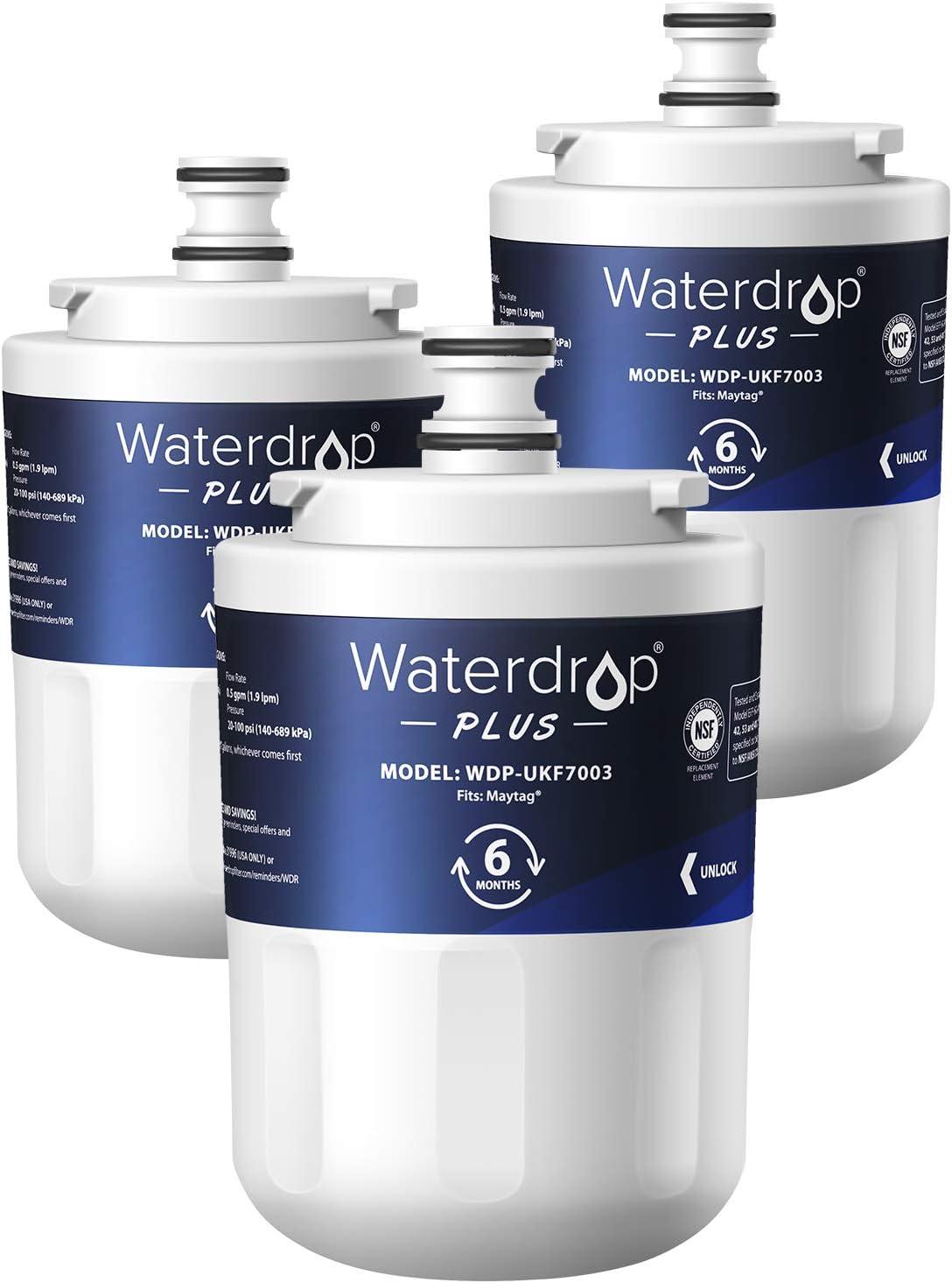 Waterdrop UKF7003 Refrigerator Water Filter, Replacement for Maytag UKF7003, UKF7002AXX, Whirlpool EDR7D1, UKF7003AXX, UKF7002, 7003AXXP, UKF7001AXX, UKF6001AXX, UKF5001, NSF 401&53 Certified, 3 Pack