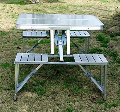 Metal Picnic Table with Durable High Impact Plastic Table Top - Heavy Duty, High Impact Plastic - Lightweight, Quick Set Up, Tilt and Lock, Suitable for Indoors and Outdoors