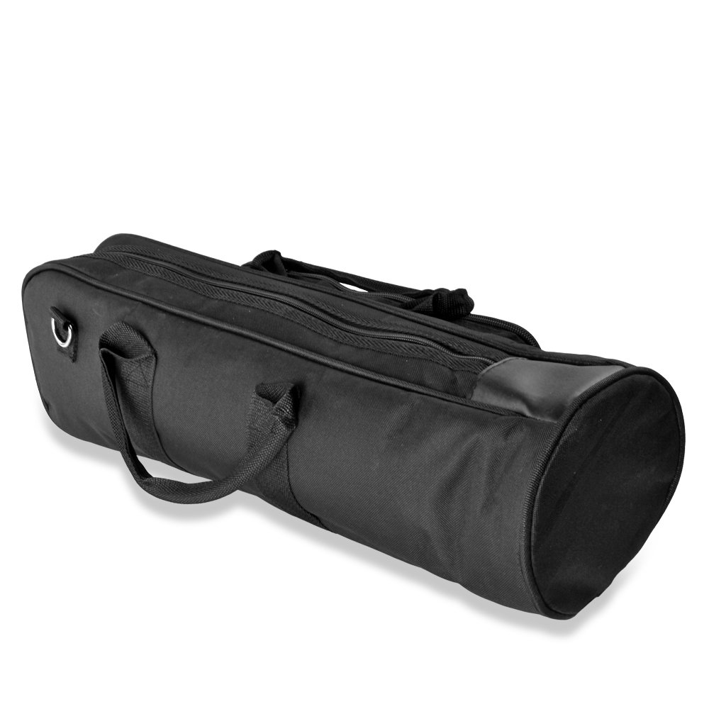 Flexzion Senior Trumpet Gig Bag Case Durable Soft Nylon Padded Portable Instrument Accessory with Double Zippers and Adjustable Shoulder Strap in Black by Flexzion (Image #3)