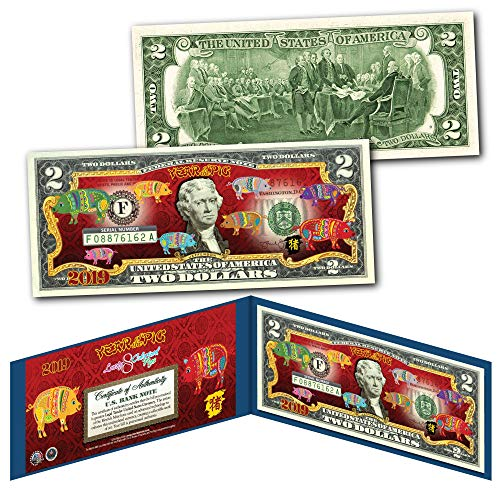 2019 CNY Lunar Chinese New YEAR OF THE PIG Polychromatic 8 Pigs $2 U.S Bill BLUE (Bill Chinese Two New Dollar Year)