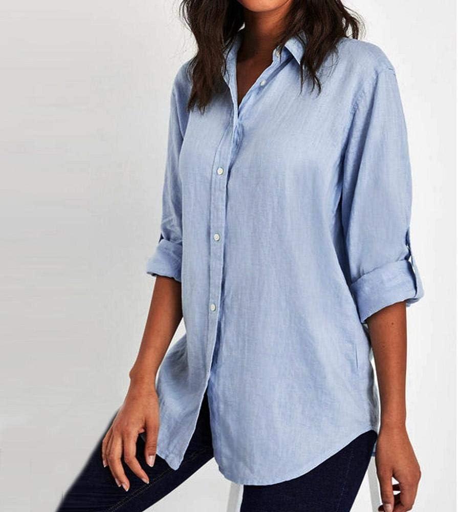 VJGOAL Camisa de Solapa para Mujer Casual Suelta Color sólido Botones de Manga Larga Tops Blusa de Talla Grande: Amazon.es: Ropa y accesorios