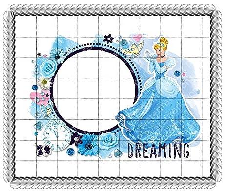 Amazon.com : 1/8 Sheet Cake - Cinderella Dreaming Birthday - Edible ...
