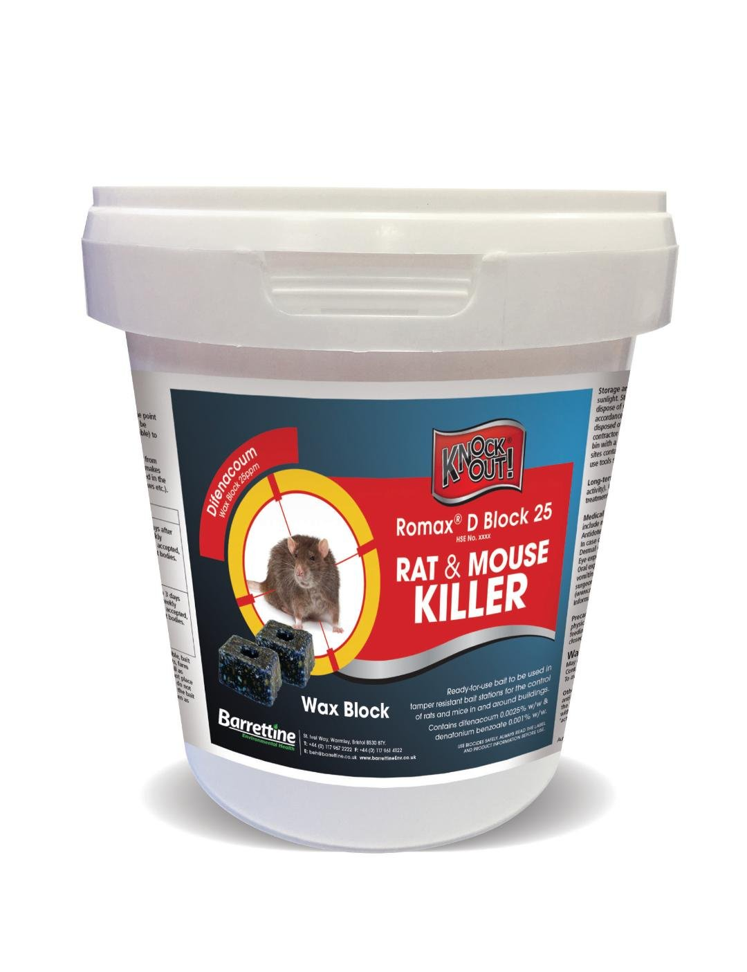 Knockout Rat and Mouse Killer Bait Block Rodenticide Barrettine