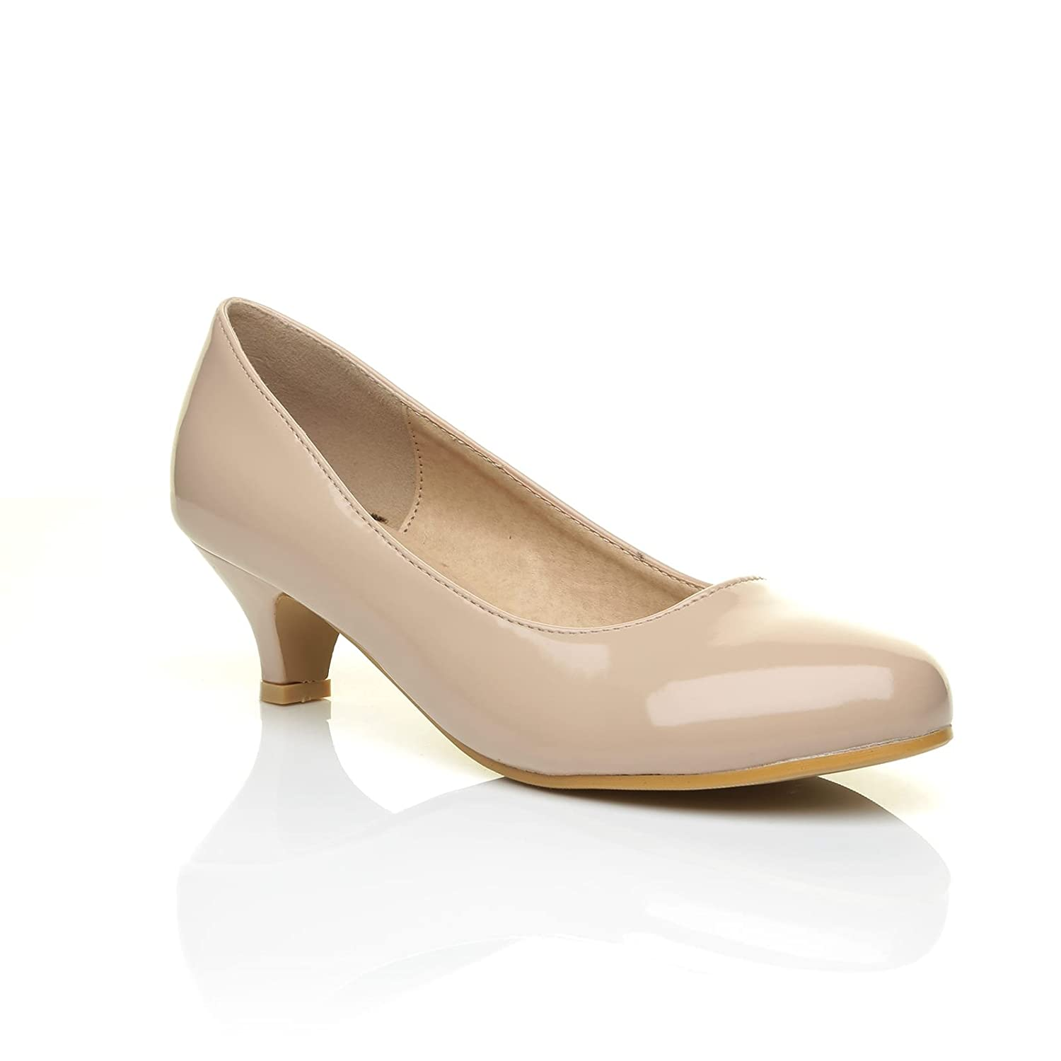 Charm Nude Patent PU Leather Low Heel Round Toe Comfort Court Shoes:  Amazon.co.uk: Shoes & Bags