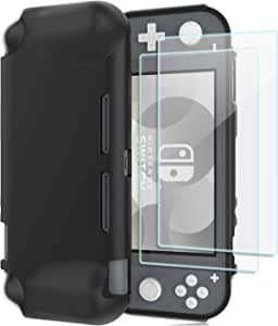 ProCase Nintendo Switch Lite Case with Screen Protectors (2 Pack), Slim Soft Shockproof TPU Cover Anti-Scratch Protective Case for Nintendo Switch Lite 2019 –Black