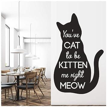 azutura Gato para ser Gatito Cita del Gato Vinilos Disponible en 5 tamaños y 25 Colores Pequeño Negro: Amazon.es: Hogar