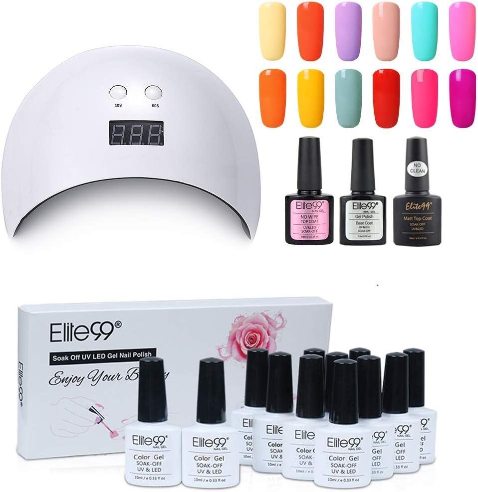 Elite99 Lámpara UV LED para Uñas 24w, 12 Colores Kit de Esmaltes Semipermanentes en Gel UV LED con Base y Top Coat Semipermanentes, Esmaltes de Uñas Soak off 10ml 003