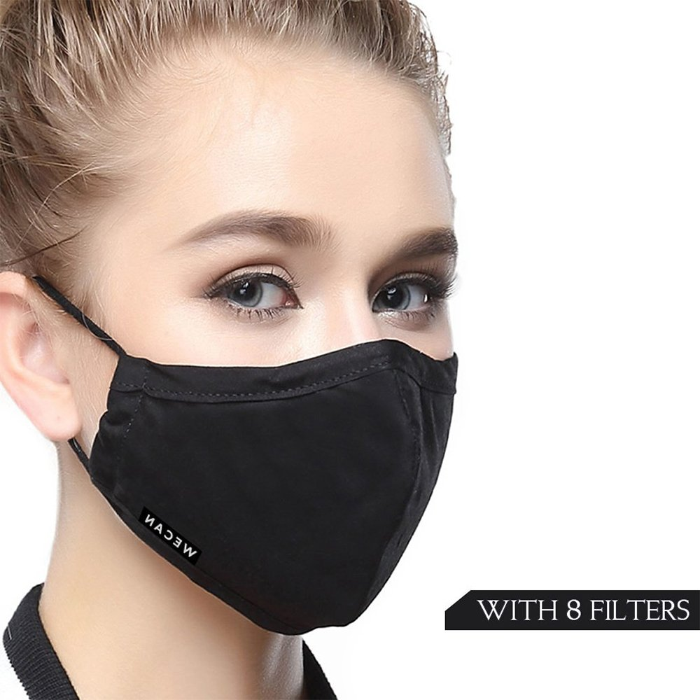 PM2.5 N95 Respirator Cotton Mouth Masks Replaceable Filter (One Mask + 8 Filters) 4 Layer Activated Carbon Filter Insert Dust Mask Washable For Men Women (Women-Black)