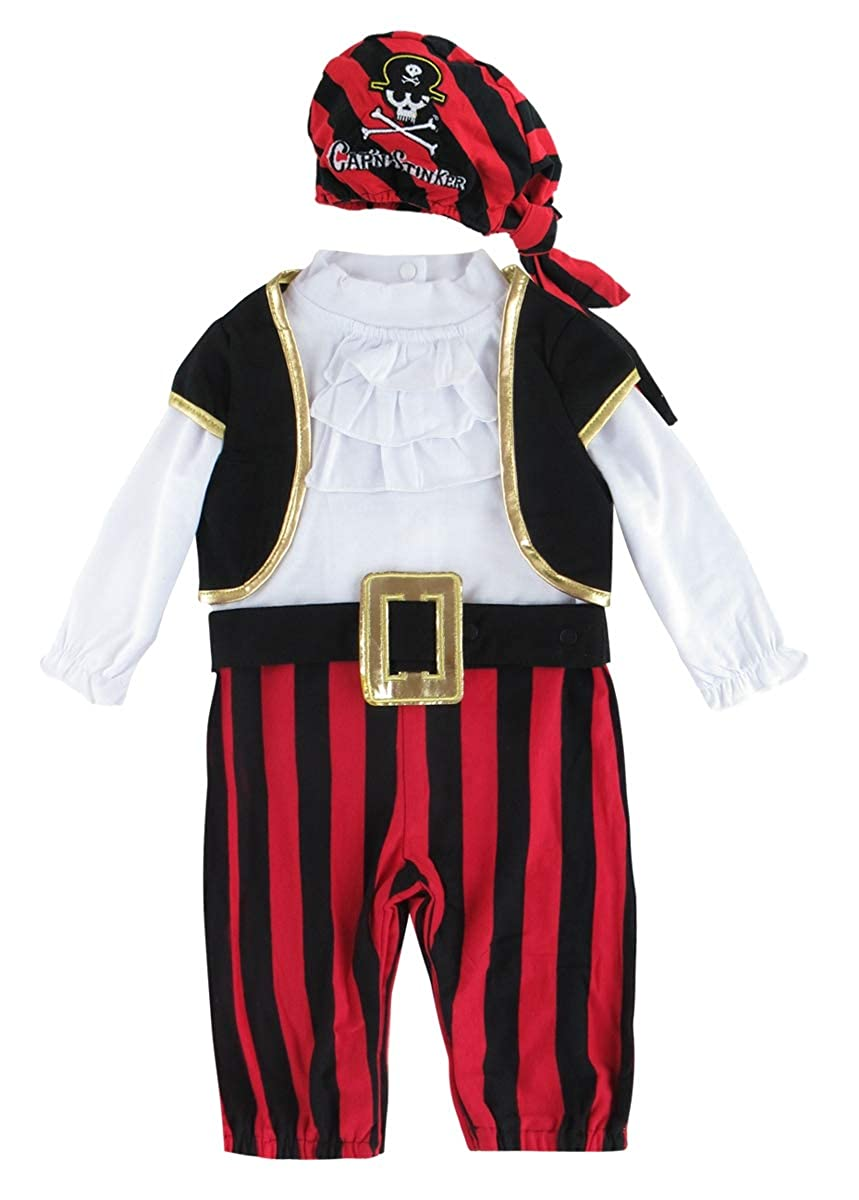 Mombebe Baby Boys Halloween Pirate Costume Romper 4 PCs Pirate)