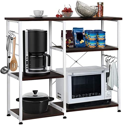 Yaheetech 35.5 inches Kitchen Baker's Racks Microwave Stand Utility Oven Stand Shelf Storage Cart 3-Tier Workstation