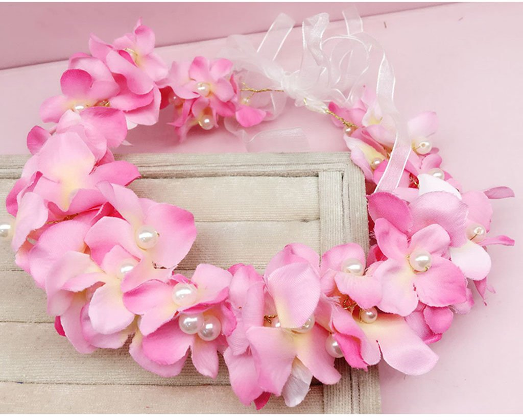 Wreath Flower, Headband Flower Garland Handmade Wedding Bride Party Ribbon Headband Wristband Hairband Pink/White/Purple/Green (Color : D)