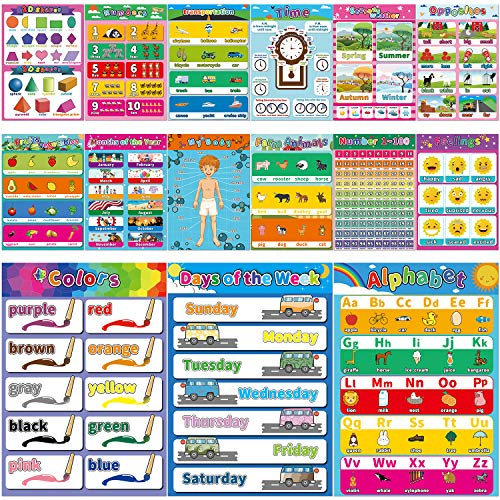 Educational Preschool Poster for Toddler and Kid,17 x 12 Inch Laminated Poster for Nursery Homeschool Kindergarten Classroom - Teach Alphabet Letters Numbers Weather Emotions (15 Pieces)