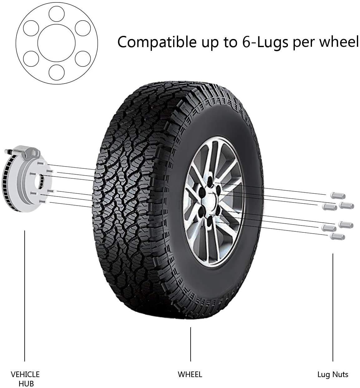 24 pcs Chrome Bulge Acorn Wheel Lug Nuts 1//2-20 Closed End 1.9 XL Tall 3//4 Hex TC Sportline WH-LN12UN190CH24
