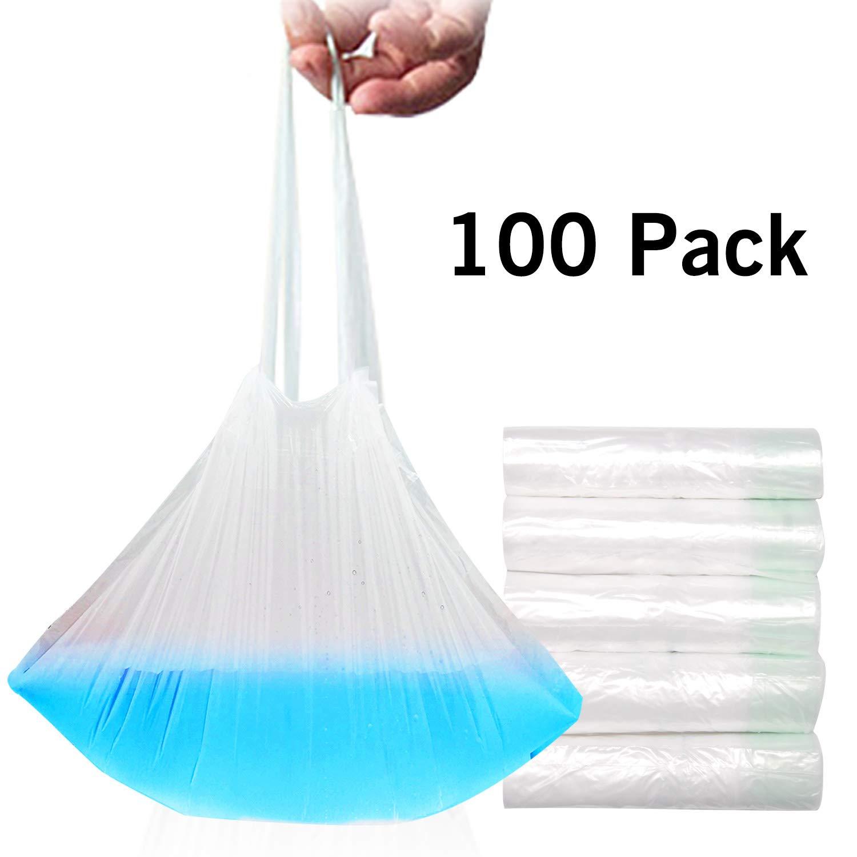 Paquete de 100 bolsas desechables para inodoro con cordón de plástico para asiento de inodoro transparente transparente Talla:100 Pack DOCA