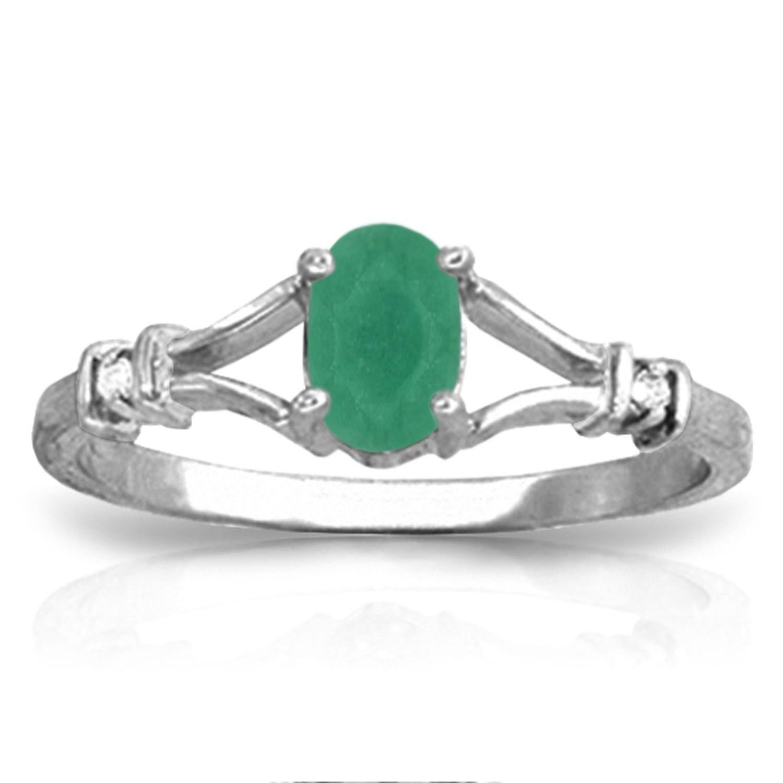 ALARRI 14K Solid White Gold Ring w/ Natural Diamonds & Emerald