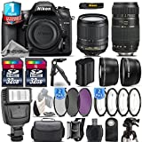 Holiday Saving Bundle for D7200 DSLR Camera + 18-105mm VR Lens + Tamron 70-300mm Di LD Lens + 1yr Extended Warranty + Flash + Macro Filter Kit + UV-CPL-FLD Filters - International Version