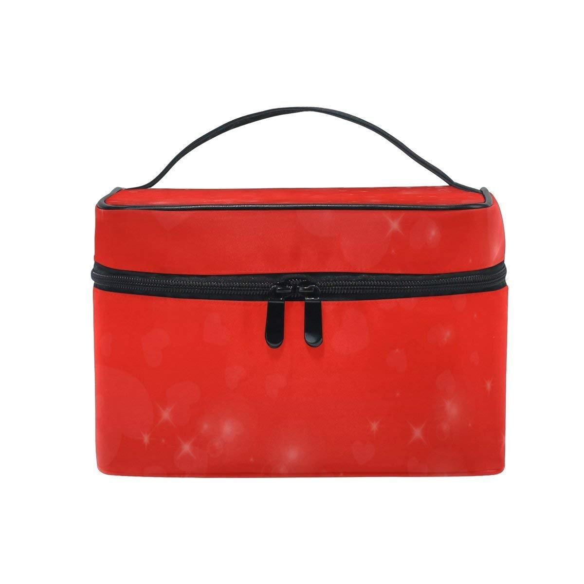 Makeup Bag Sweet Red Love Heart Mens Travel Toiletry Bag Mens Cosmetic Bags for Women Fun Large Makeup Organizer