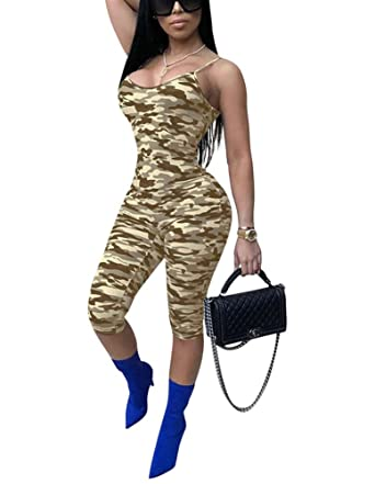 612520fb530e Amazon.com  Dreamparis Women s Sexy Summer Camouflage Spaghetti Strap  Sleeveless Capri Bodycon Jumpsuits Rompers Clubwear XX-Large Yellow   Clothing