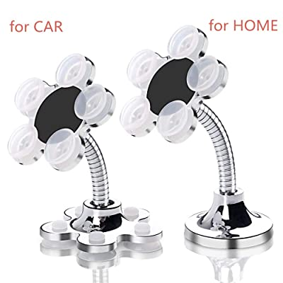 Magic Sucker Mobile Phone Holder, Dashboard Car Phone Mount Suction Desktop Cell Phone Stand for Phones & Mini Tablets, Included 2 Pieces