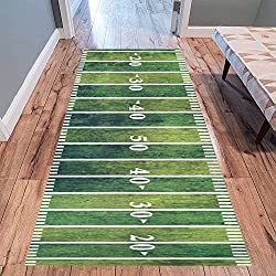 "InterestPrint Retro American Football Field Modern Area Rug Carpet 10' x 3'3"", Vintage Grunge Sport Decorative Floor Mat Rugs for Office Living Room Bedroom"