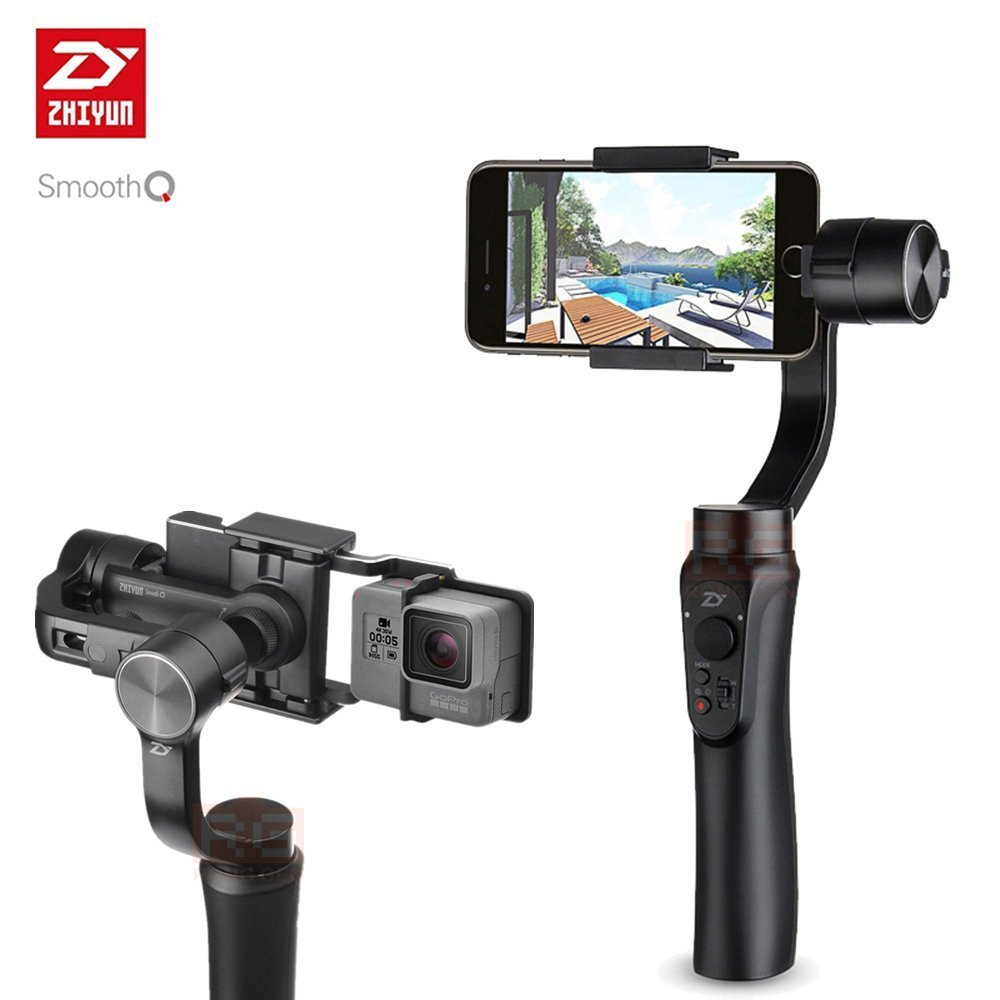 Zhiyun Smooth-Q 3-Axis Handheld Gimbal Stabilizer for Smartphone Like iPhone, Samsung. Huawei and Gopro Hero 5 / 4 /3 Wireless Control (Q+Action camera Adapter)