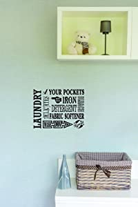 """Design with Vinyl Moti 2458 3 Laundry Dedicates Your Pockets Hand Wash Iron Detergent Fabric Softener Wash Dry Fold Bleach Repeat Text Quote Wall Decal Sticker, 20 x 30"""""""