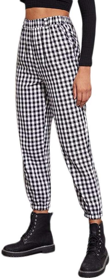 Greetuny Pantalones Casuales De Hip Hop Cuadros En Blanco Y Negro Pantalones Casual Con Bolsillos Moda Personalidad Pantalones De Cargo Mujer S Amazon Es Ropa Y Accesorios
