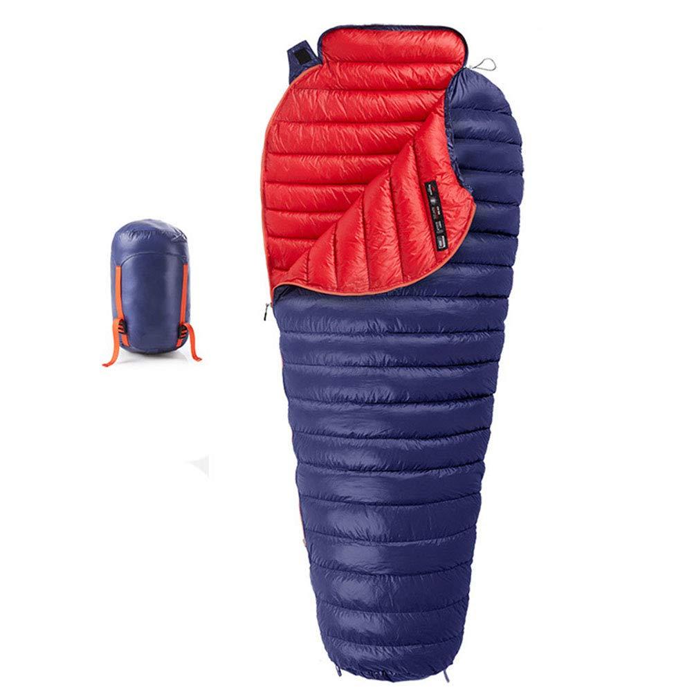 LIUSIYU マミー寝袋 95%グースソウン 3-4シーズン用 -20度超軽量ダウン寝袋 バックパッキング用 キャンプやハイキングに最適  ブルー B07MQ8178H